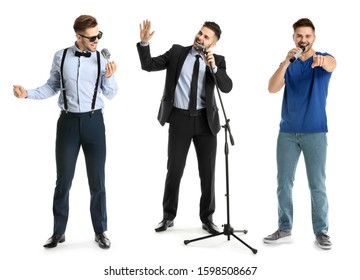 Collage of handsome male singer with microphones on white background