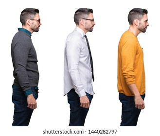 Collage of handsome man over white isolated background looking to side, relax profile pose with natural face with confident smile.