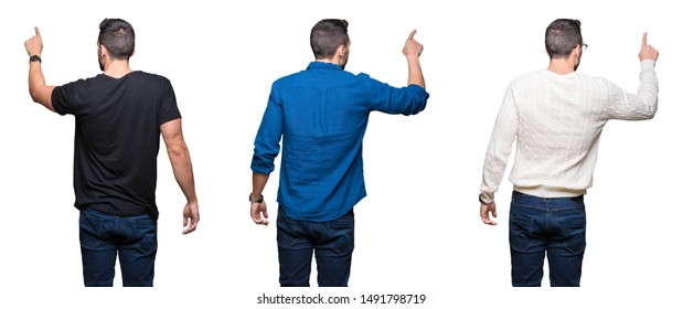 Collage of handsome man over white isolated background Posing backwards pointing behind with finger hand