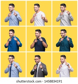 Collage of handsome man over yellow isolated background pointing fingers to camera with happy and funny face. Good energy and vibes.