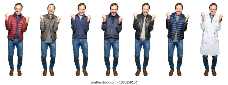 Collage of handsome middle age man wearing different looks over white isolated background celebrating surprised and amazed for success with arms raised and open eyes. Winner concept.