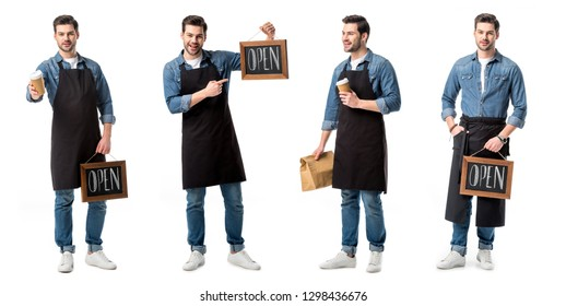 collage of handsome salesperson in apron holding sign, cup of coffee and paper bag isolated on white