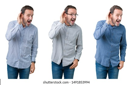 Collage of handsome senior business man over white isolated background smiling with hand over ear listening an hearing to rumor or gossip. Deafness concept.
