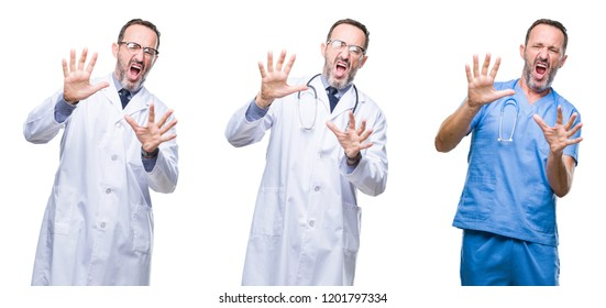 Collage of handsome senior hoary doctor man wearing surgeon uniform over isolated background afraid and terrified with fear expression stop gesture with hands, shouting in shock. Panic concept.