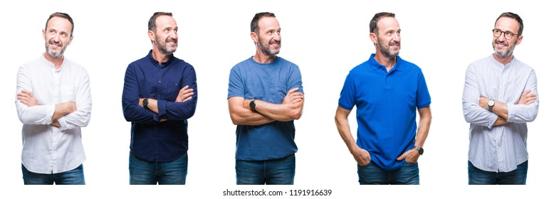 Collage of handsome senior hoary elegant business man standing over isolated background smiling looking side and staring away thinking.