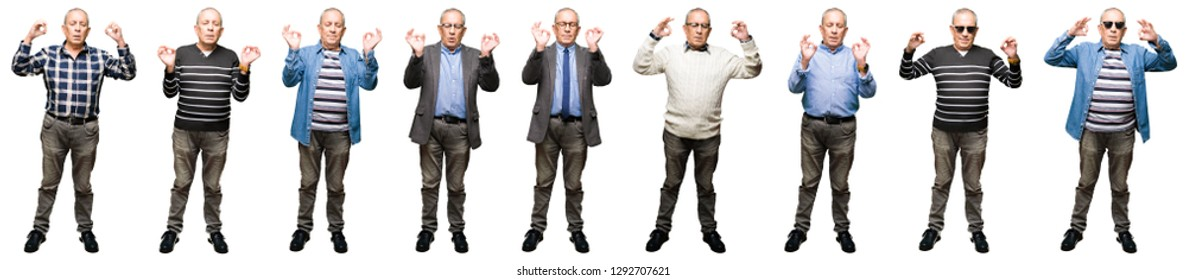 Collage of handsome senior man over white isolated background relax and smiling with eyes closed doing meditation gesture with fingers. Yoga concept.