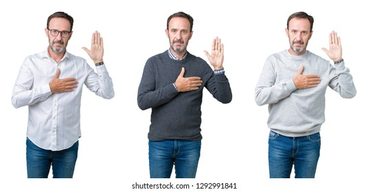 Collage of handsome senior man over white isolated background Swearing with hand on chest and open palm, making a loyalty promise oath