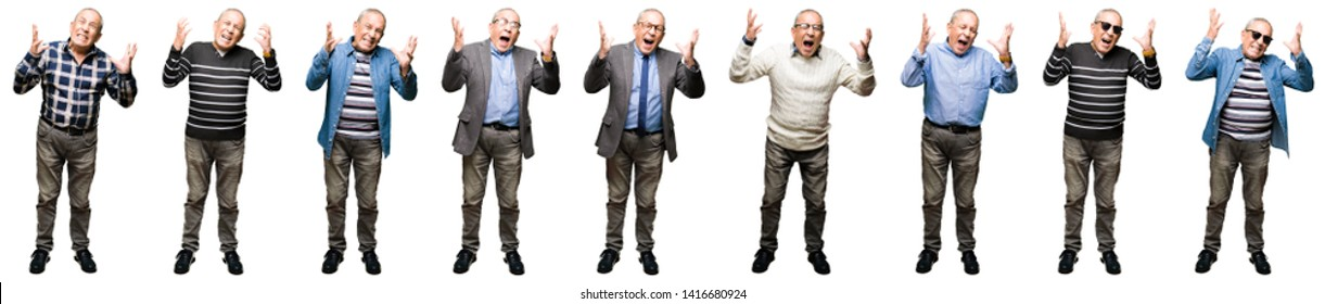 Collage of handsome senior man over white isolated background crazy and mad shouting and yelling with aggressive expression and arms raised. Frustration concept.