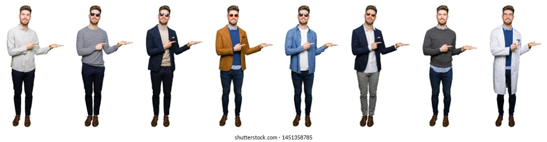 Collage of handsome young business man wearing different looks over white isolated background amazed and smiling to the camera while presenting with hand and pointing with finger.
