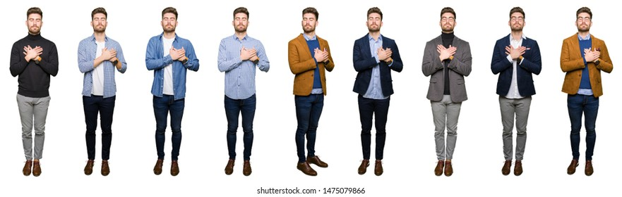 Collage of handsome young business man wearing different looks over white isolated background smiling with hands on chest with closed eyes and grateful gesture on face. Health concept.