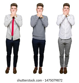 Collage of handsome young business man over white isolated background shocked covering mouth with hands for mistake. Secret concept.