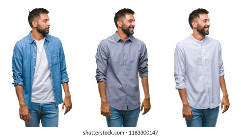 Collage of handsome young indian man over isolated background looking away to side with smile on face, natural expression. Laughing confident.