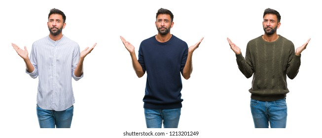 Collage of handsome young indian man over isolated background clueless and confused expression with arms and hands raised. Doubt concept.