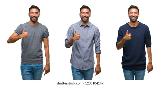 Collage of handsome young indian man over isolated background doing happy thumbs up gesture with hand. Approving expression looking at the camera with showing success.