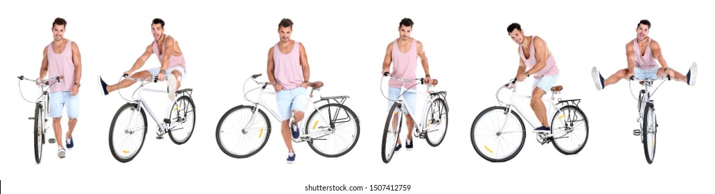 Collage of handsome young man with bicycle on white background