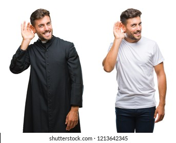 Collage of handsome young man and catholic priest over isolated background smiling with hand over ear listening an hearing to rumor or gossip. Deafness concept.