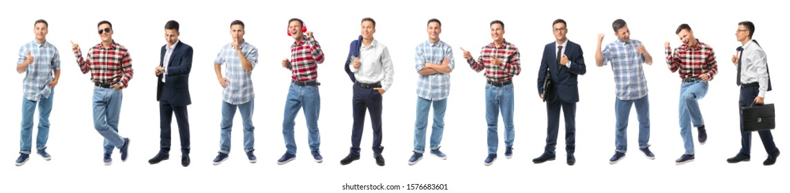 Collage with handsome young man on white background