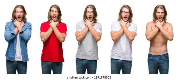 Collage of handsome young man wearing casual look over white isolated backgroud shouting and suffocate because painful strangle. Health problem. Asphyxiate and suicide concept.
