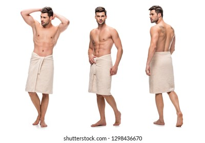 collage of handsome young man wrapped lower body with towel, upper body without clothes isolated on white