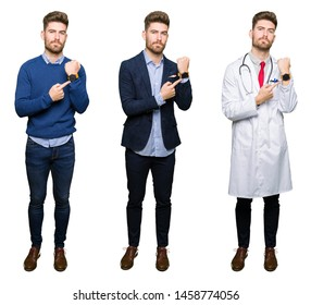Collage of handsome young professional man over white isolated background In hurry pointing to watch time, impatience, upset and angry for deadline delay