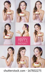 Collage of a happy brunette girl with the birthday cake with candle on it