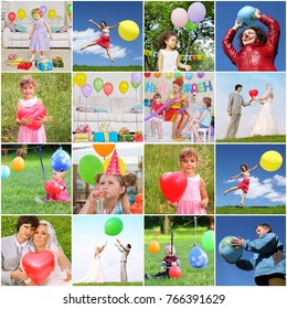 Collage with happy children and adults with bright balloons (12 models)