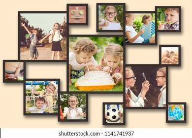 Collage of happy children playing outdoors at the day time. Concept of science and education.