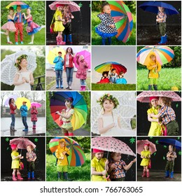 Collage with happy cute children and adults with umbrellas (13 models)