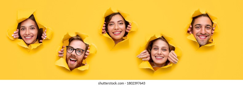 Collage of happy diverse young men and women looking at camera through holes in bright yellow paper