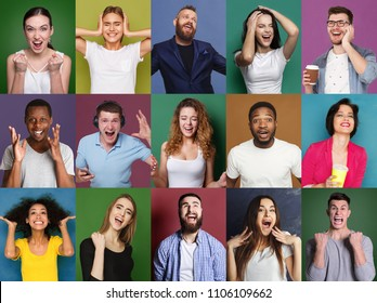 Collage of happy emotional multiethnic diverse people laughing and grimacing at colorful studio backgrounds
