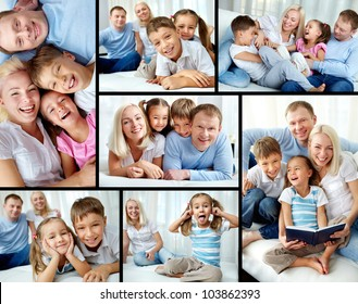 Collage of happy family resting at home