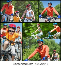 Collage of happy family riding on bicycles at leisure