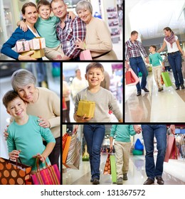 Collage of happy family shopping