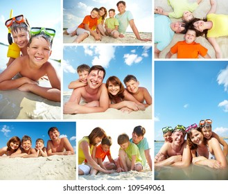 Collage of happy family spending summer vacation on resort