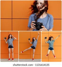 Collage happy girl with retro film camera