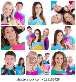 Collage of happy high school students with books