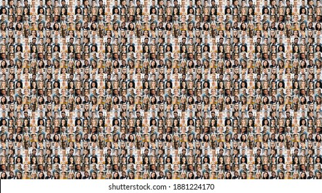 Collage of a lot of happy multiracial people looking at the camera. Many smiling multiethnic faces of successful business people on a screen of computer or laptop - Shutterstock ID 1881224170
