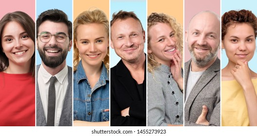 Collage of happy people faces. European men and women smiling at camera being self confident.