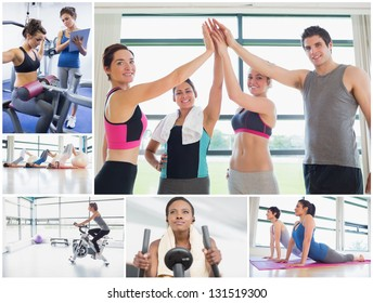 Collage of happy people at the gym working out