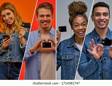 Collage of happy people taking a credit card. Set of people holding a bank card.