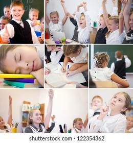 Collage of happy schoolchildren while lesson in school