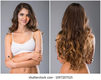 Collage happy sporty woman. Female Long wavy brunette hair, rear view, isolated on gray background