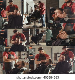 Collage Of Happy Young Bearded Man Getting Haircut By Barber. Barbershop Theme