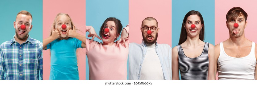 Collage of happy young people as a clowns celebrating red nose day. Male and female models on bicolored blue-pink studio background. Celebrating, greeting, holidays concept. Human facial emotions.