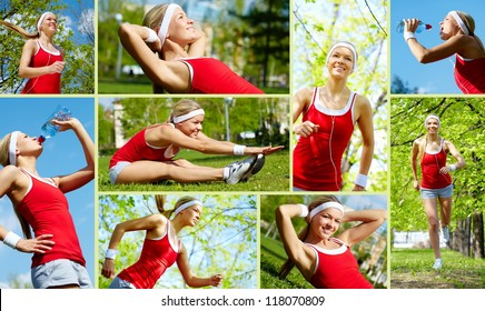 Collage of happy young woman jogging and exercising outside