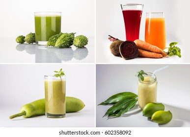 collage of health drinks like karela, lauki, beatroot, carrot juice and kairi or kaccha aam panha,  isolated over white background