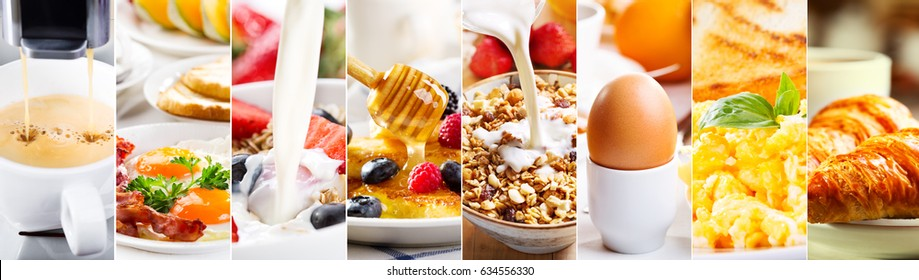 collage of healthy breakfast with various products