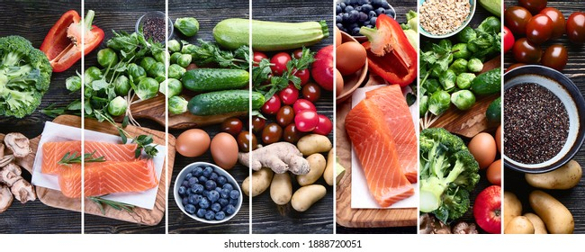 Collage of healthy diet background. Clean and detox eating. Top view, flat lay with copy space
