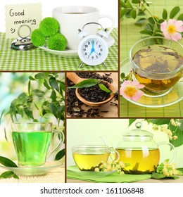 Collage of healthy green tea