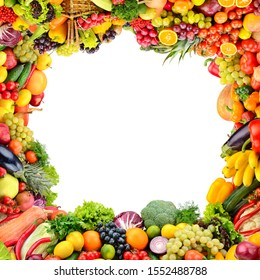 Collage healthy vegetables and fruits in form frame isolated on white background. Free space for text.